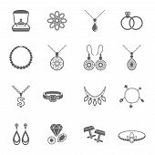 stock photo of jewelry  - Jewelry black icons set of luxury jewels and precious gifts isolated vector illustration - JPG