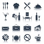 picture of knife  - Restaurant food kitchen black icons set with knife fork plate isolated vector illustration - JPG