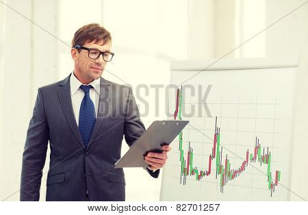 business, office and money concept - businessman in suit and black eyeglasses with clipboard and flip board with forex chart in office