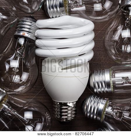 bulb uniqueness concept on the wooden table