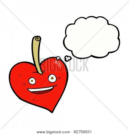 cartoon love heart apple with thought bubble