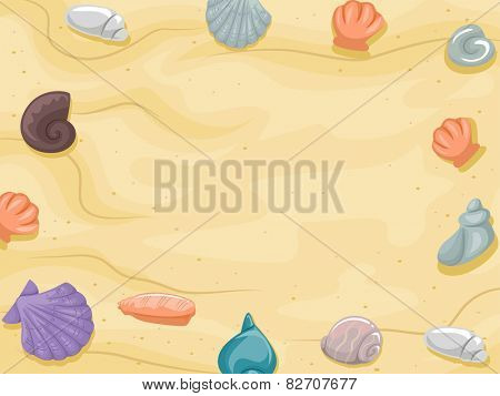 Frame Illustration of Shells Scattered Around a Beach With Yellowish Sand