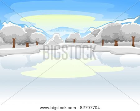 Illustration of a Frozen Lake Surrounded by Equally Frozen Trees