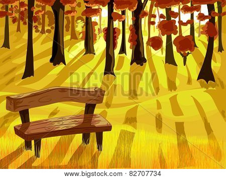 Illustration of a Bench in the Middle of the Forest on an Autumn Day