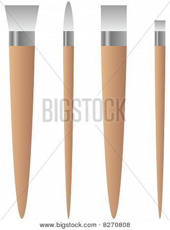 Set of Four Artist Paint Brushes