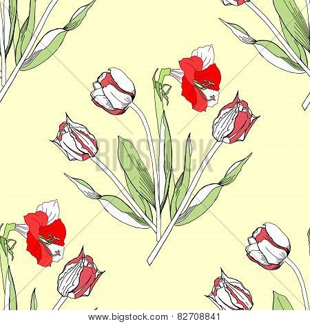 Seamless pattern with amaryllis and tulip