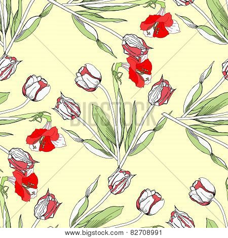Seamless pattern  with amaryllis and tulip-03