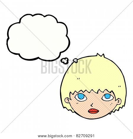cartoon girl staring with thought bubble