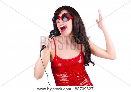 Woman in red dress singing songs