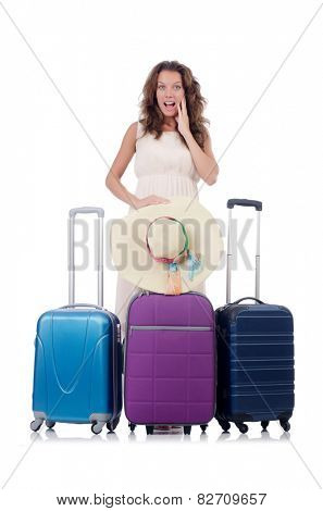 Woman with luggage isolated on white