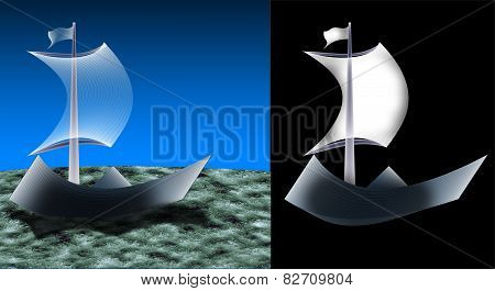 Paper Ship On The Sea