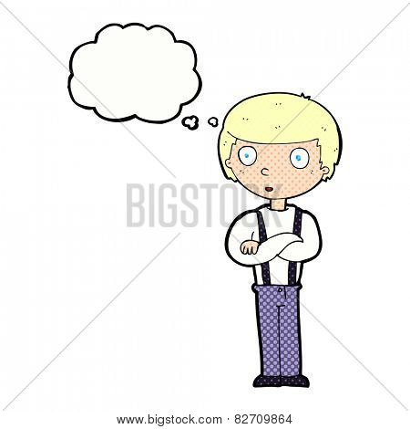 cartoon staring boy with thought bubble