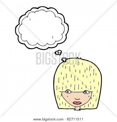 cartoon female face staring with thought bubble