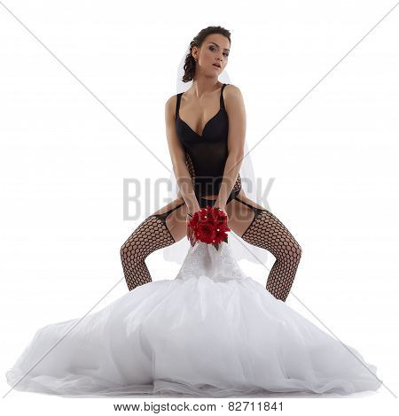 Image of sexy bride posing in provocative pose