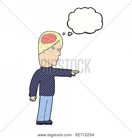 cartoon clever man pointing with thought bubble