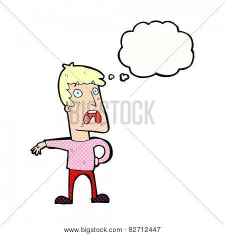 cartoon complaining man with thought bubble