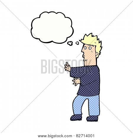 cartoon nervous man waving with thought bubble