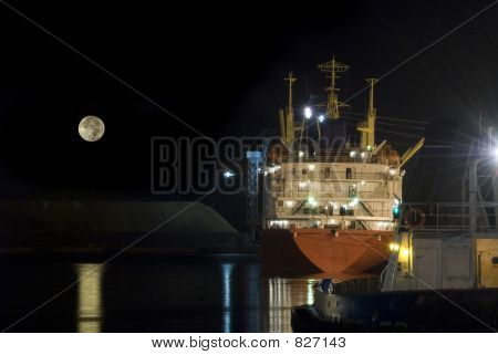 Ship docked Full Moon