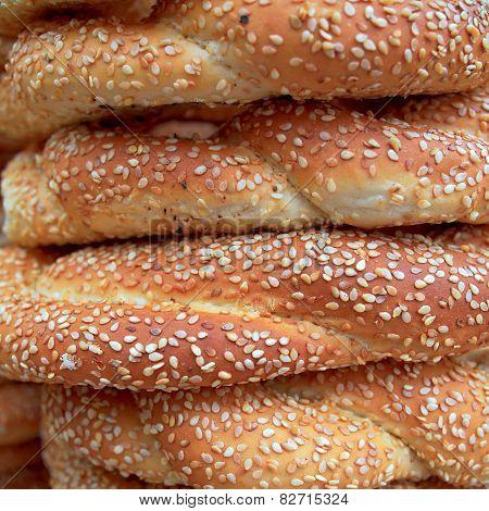 sesame round buns pile