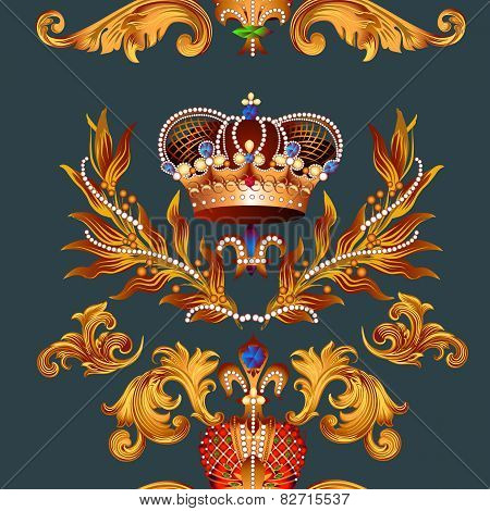 Heraldic Seamless Pattern With Fleur De Lis And Crowns