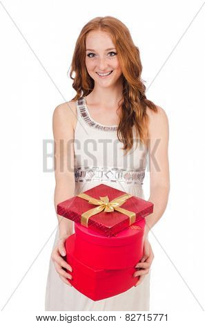 Woman with gift box isolated on the white