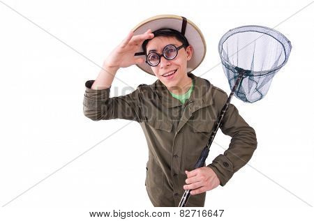 Funny guy with catching net on white