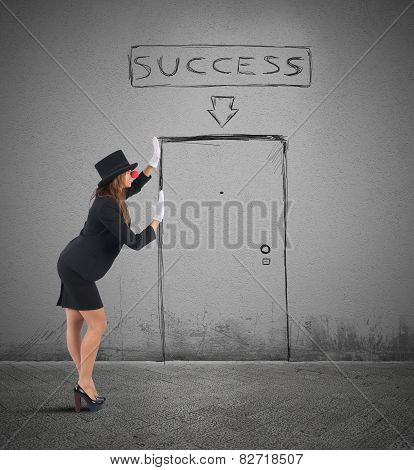 Mime businesswoman success