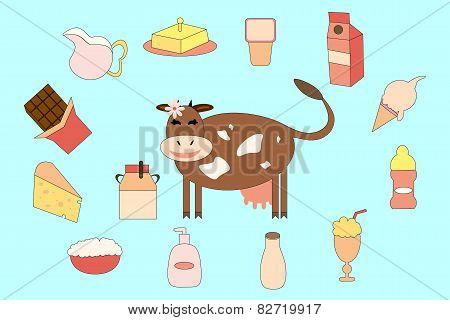 Cow and different milk products