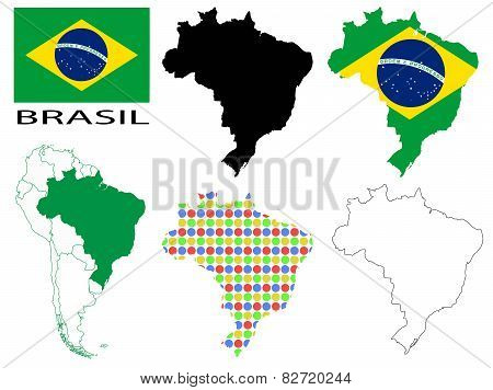 Brazil - Flag, four vector map contours and South America flag