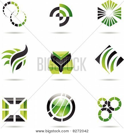 Various green abstract icons, Set 9