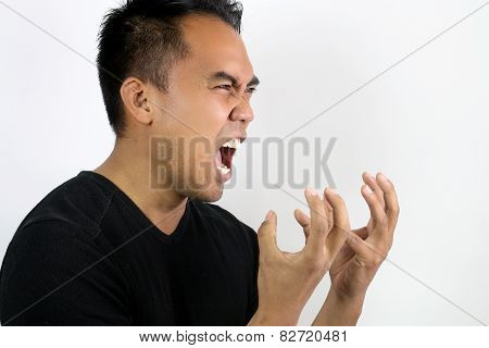 man shouting with rage