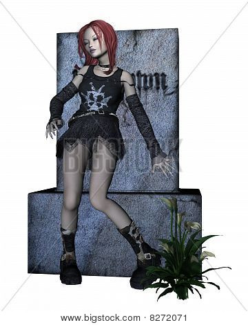Red-haired Goth Girl with Gravestone
