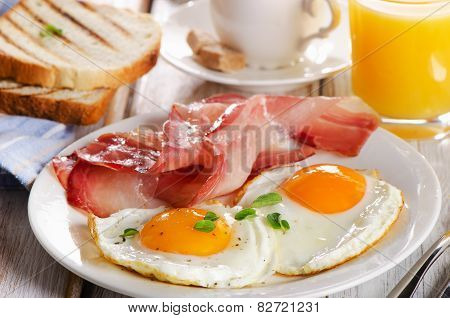 Two  Eggs And Bacon For Healthy Breakfast