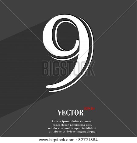 Number Nine Icon Symbol Flat Modern Web Design With Long Shadow And Space For Your Text. Vector