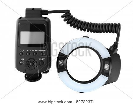 Ring flash of camera isolated on white