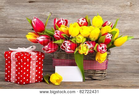 Spring Tulips In Wooden Basket, Red Polka-dot Gift Box. Happy Mothers Day, Romantic Still Life