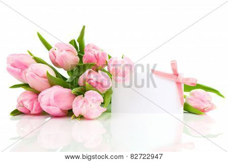 Beautiful Tulips With With Blank For Text On A White Background. Happy Mothers Day