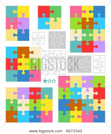 Jigsaw puzzle blank templates and colorful patterns