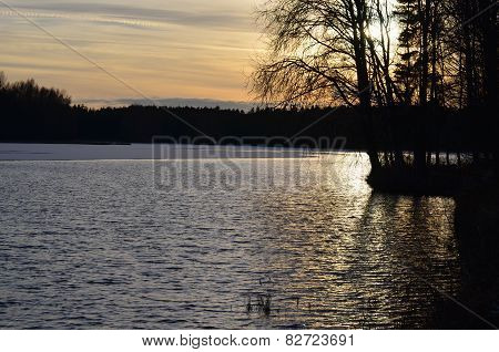 Sunset Over The Pond, South Bohemia