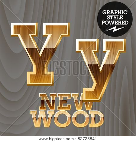 Vector wooden font with golden border. Letter Y