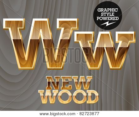 Vector wooden font with golden border. Letter W