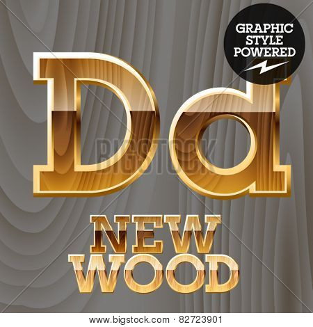 Vector wooden font with golden border. Letter D