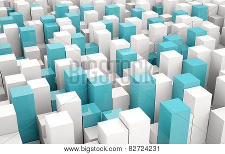 Abstract background of white and blue cubes