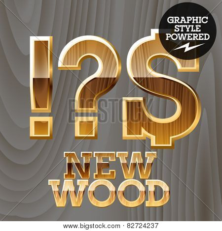 Vector wooden font with golden border. Symbols 3