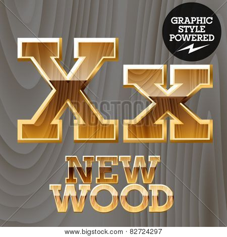 Vector wooden font with golden border. Letter X