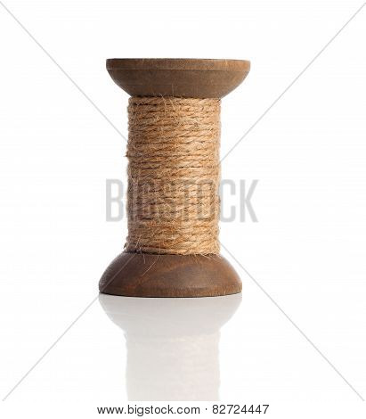 Old Wooden Bobbins Of Thread, Vintage