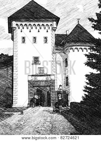 Castle Velke Mezirici illustration