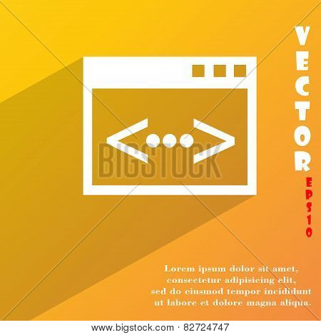 Code Icon Symbol Flat Modern Web Design With Long Shadow And Space For Your Text. Vector