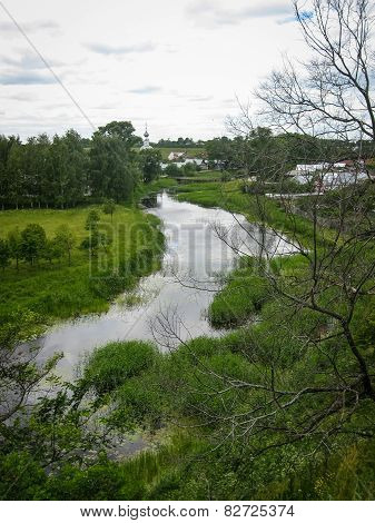 Landscape With The River In Suzdal, Vladimir Region, Russia