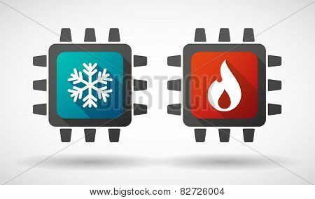 Cpu Icon Set With Fire And Ice Signs
